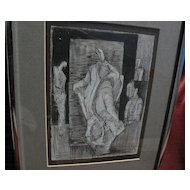 Signed original modern pencil and ink drawing of figures in style of Henry Moore