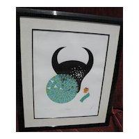 "ERTE (Romain de Tirtoff)   (1892- 1990)   limited edition pencil signed serigraph of 1982 Zodiac Suite ""Taurus"""