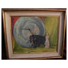 American mid 20th century damaged still life painting restorer's special