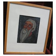 Greek Art religious painting of a saint in gouache by an English artist