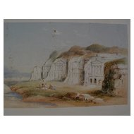 Early 19th century topographical art  fine watercolor drawing possibly Petra, Jordan