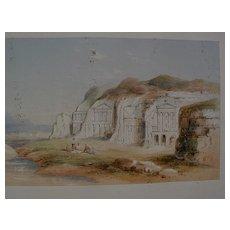 Early 19th century Orientalist art fine watercolor drawing possibly Petra, Jordan