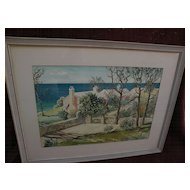 Bermuda art original mid century signed large watercolor painting of  traditional homes by the sea