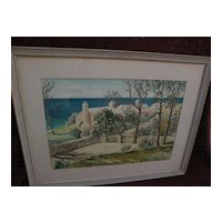 F. KENWOOD GILES (1899/1900-1972) Bermuda art original mid century signed large watercolor painting of  traditional homes by the sea