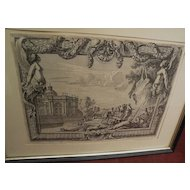 JEAN LE PAUTRE (1618-1682) French art original engraving print of a palace and figures