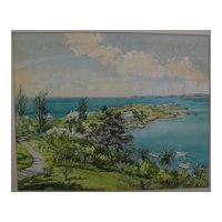 F. KENWOOD GILES (1899/1900-1972) Bermuda art original mid century signed large watercolor painting birds-eye view island landscape