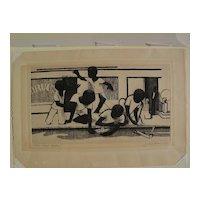 JOHN WOODROW WILSON (1922-2015) important African-American art pencil signed limited edition etching