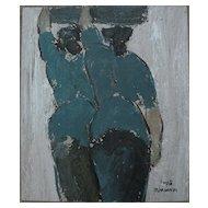 DIYANO PURWADI (1971-) contemporary Indonesian art signed mixed media painting of two women