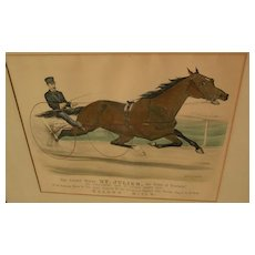 "CURRIER & IVES original hand colored 1881 lithograph print ""The Grand Horse ST. JULIEN, the 'King of Trotters'."""