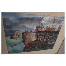 California watercolor school fine painting of docks at Ensenada Mexico by listed artist HERBERT MANASSE (1891-1965)