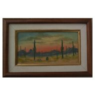 Arizona desert art small oil on board painting of saguaro cactus at sunset