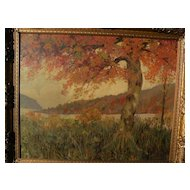 American impressionist art autumn landscape painting signed F. DUNCAN circa 1940's