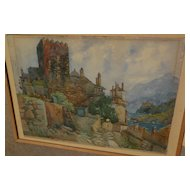 THEODORE CHARLES BALKE (1874-1951) fine watercolor of monastery at Mt. Athos Greece by listed French Orientalist artist