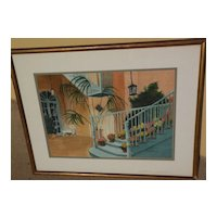 New Orleans art original watercolor painting of Brulatour Courtyard by Philadelphia artist Florence W. Steck
