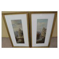 19th century European art **PAIR** of picturesque scenic landscape paintings of Tyrol