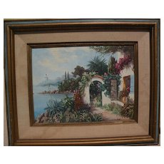 Impressionist Mediterranean painting of house on the coast‏