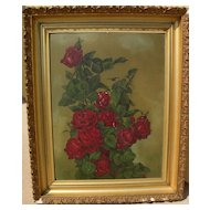 Antique roses still life painting Shabby Chic style signed N. Miller dated 1910‏