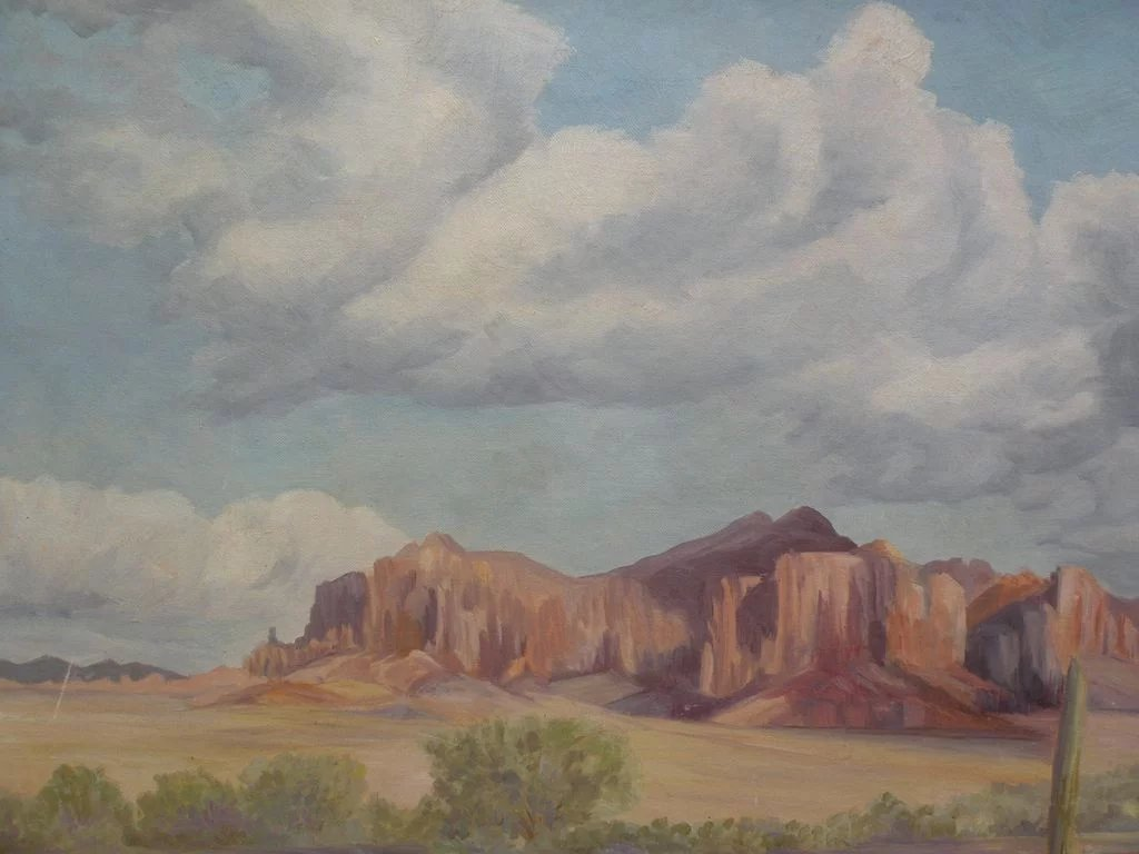 Arizona Art 1956 Signed Oil Landscape Painting Of The