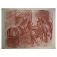 WALTER KAMYS (1917-) early chalk drawing of horse paddock by noted American painter