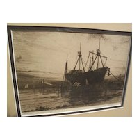 "HENRY FARRER (1844-1903) American art pencil signed etching ""Sunset--Gowanus Bay"" New York"