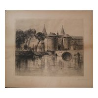 SAMUEL COLMAN (1832-1920) American art pencil signed etching print by important 19th century artist