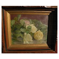 Vintage American still life oil painting of roses circa 1900