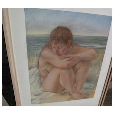 LOU KOHL-MORGAN (1942-) exquisite original large pastel drawing of a nude by accomplished gallery artist