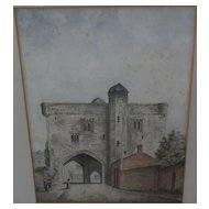 English art mid 19th century detailed watercolor of a castle with figures
