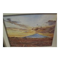 Southwestern or California watercolor landscape painting in style of Peter Hurd