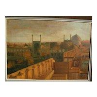 Islamic art elegant signed luminous painting of Masjid-e-shah mosque Isfahan Iran dated 1966