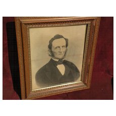 Old American Victorian charcoal painting ancestor portrait