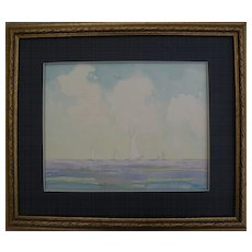 HARRY LESLIE HOFFMAN (1871-1964) American art delicate watercolor seascape painting possibly of Bahamian scene