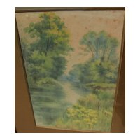 English circa 1900 signed watercolor landscape painting of creek and trees in summer