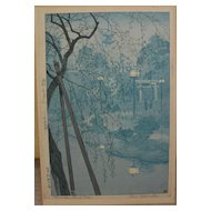 "SHIRO KASAMATSU (1898-1991) Japanese woodblock print ""Misty Evening at Shinobazu Pond, Tokyo"" pencil signed and titled"