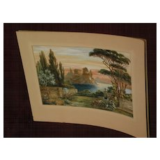 KARL NACKE (1876-after 1931) German artist Italian art landscape watercolor painting dated 1918