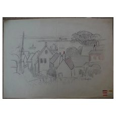 DAISY MARGUERITE HUGHES (1882-1968) charcoal landscape sketch with added color, of houses and the bay, likely Provincetown