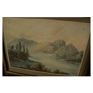 English 19th century art antique watercolor landscape painting