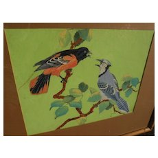 AUGUST CURLEY LENOX (1908-1986) original gouache painting of birds by noted Disney illustrator