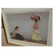 "WILLIAM RUSSELL FLINT (1880-1969) important English 20th century watercolor artist limited edition signed photolithograph print ""Rosa and Marissa"" 1957"