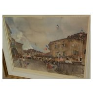 "WILLIAM RUSSELL FLINT (1880-1969) important English 20th century watercolor artist limited edition pencil signed photolithograph print ""Le Quatorze Juillet"""