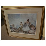 "WILLIAM RUSSELL FLINT (1880-1969) important English 20th century watercolor artist limited edition signed photolithograph print ""The Shower"" 1961"