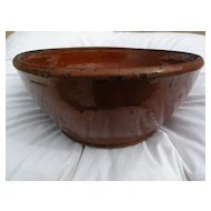 American 19th century redware ceramic bowl possibly Pennsylvania origin