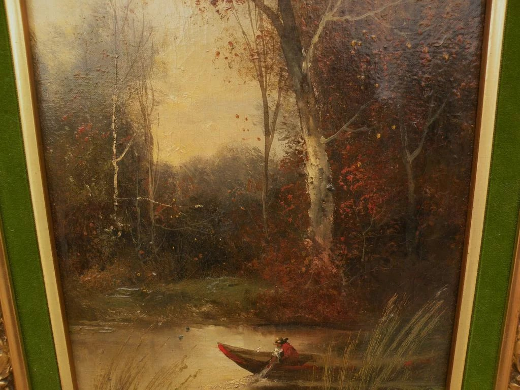 Circa 1900 Antique Signed Landscape Oil Painting Probably