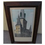 New Orleans Louisiana art watercolor painting of St. Louis Cathedral in the French Quarter
