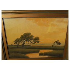 EDWIN C. SIEGFRIED (1889-1955) California art pastel painting of sunset over the Alameda marshes