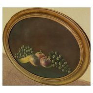 American pastel still life circa 1900 in oval frame