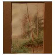 Vintage American art watercolor painting trees by the edge of a lake or pond