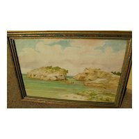 JOHN W. NICOLL (1865-1943) vintage Bermuda watercolor painting by listed California artist