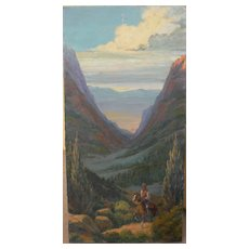 Western American art signed impressionist painting of cowboy and horse in dramatic canyon