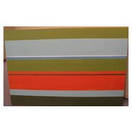 Contemporary hard edge abstract painting in retro colors